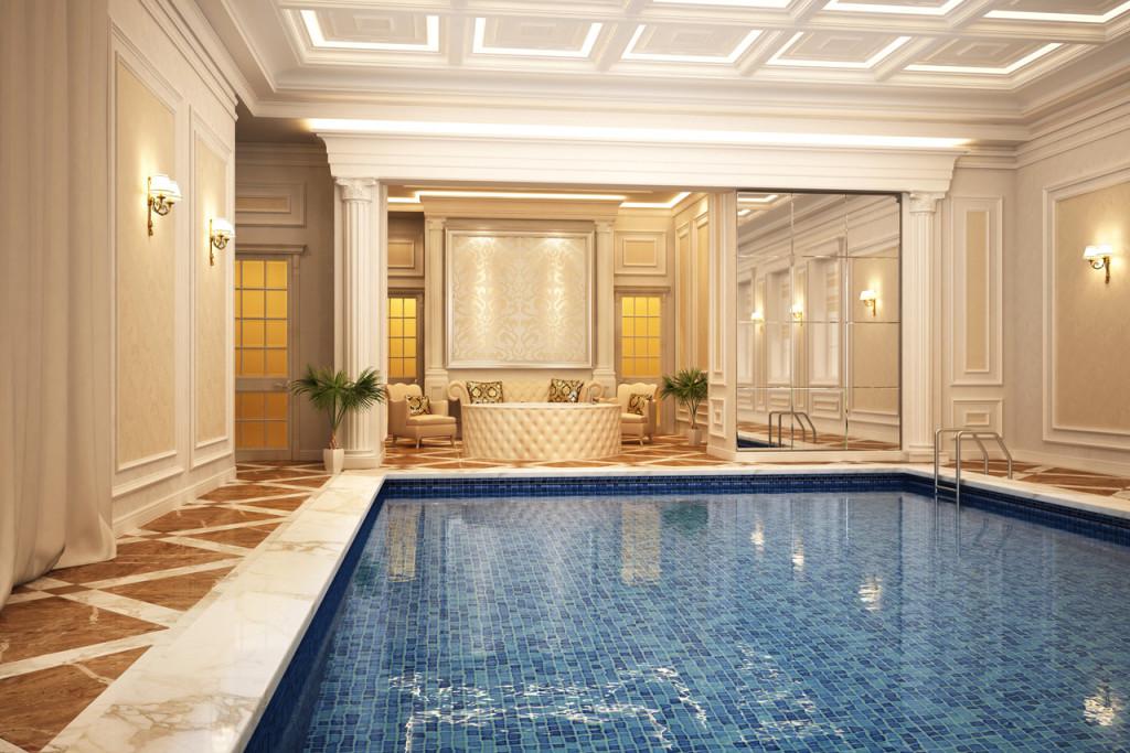 Classic swimming pool of luxury hotel